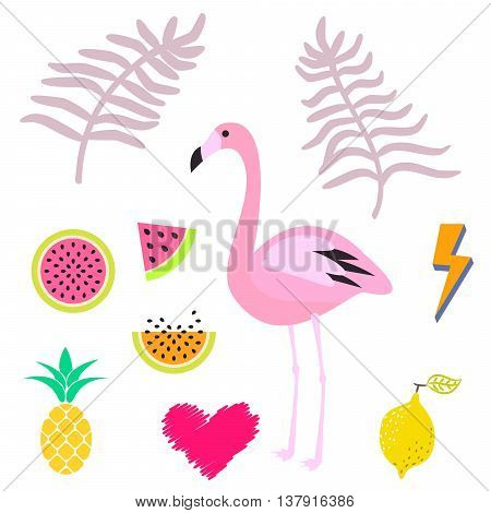 Summer pink flamingo clipart icon set. Palm leaevs, watermelon, pineapple fruits. Vector illustration for stickers and cards.