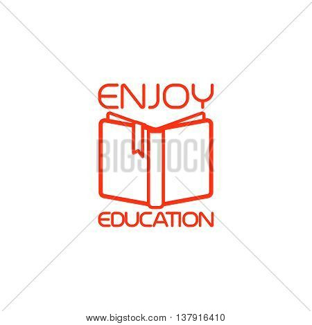 Open book isolated icon with text enjoy education. Vector illustration