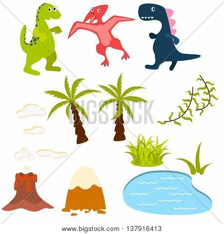 Set of cartoon dinosaur vector clipart illustration. Dino in rainforest with palms, lake, volcano and mountains. For kids apparel, books and cards
