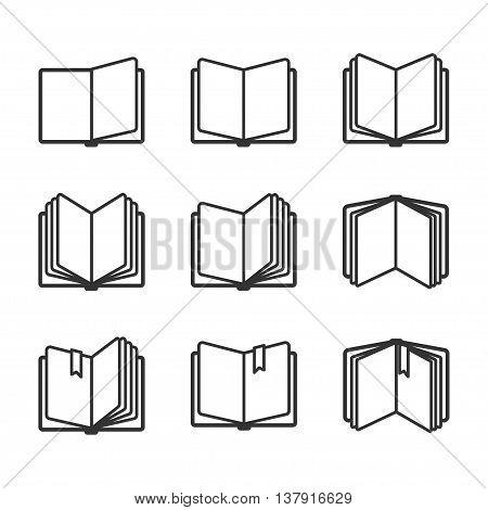 Education icons set, open books in black over white. Vector illustration
