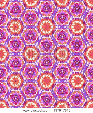 Hand made seamless kaleidoscopic tie dye pattern. Traditional technique for textile coloring. Japanese shibori in pink and purple colors.