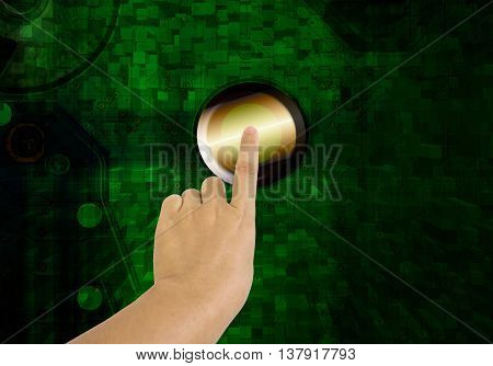 Hand And Finger Press Or Push Big Technology Button