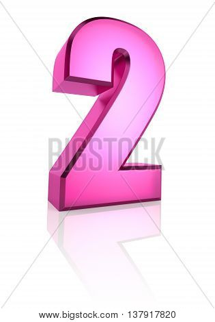 Pink number 2 isolated on white background. 3d rendering