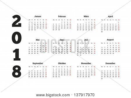 2018 year simple calendar on german language, isolated on white