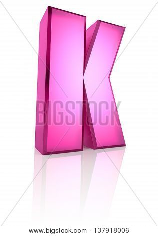 Pink letter K isolated on white background. 3d rendering