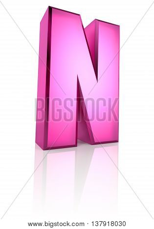 Pink letter N isolated on white background. 3d rendering