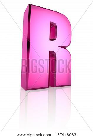 Pink letter R isolated on white background. 3d rendering