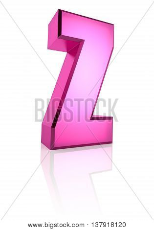Pink letter Z isolated on white background. 3d rendering