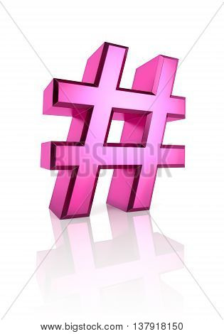 Pink hash symbol isolated on white background. 3d rendering