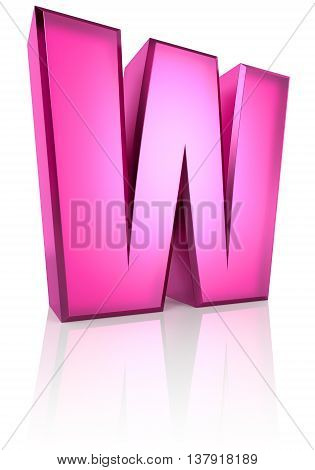 Pink letter W isolated on white background. 3d rendering