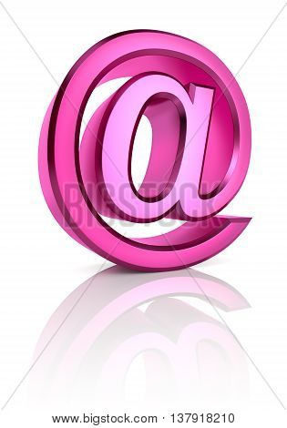 Pink email symbol isolated on white background. 3d rendering