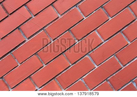 Red brick wall background. Modern wall with smooth decorative false bricks texture. Brickwall stucco surface