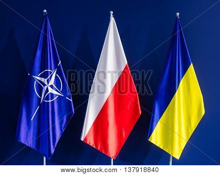 Flags Of Nato, Poland And Ukraine At The Nato Summit