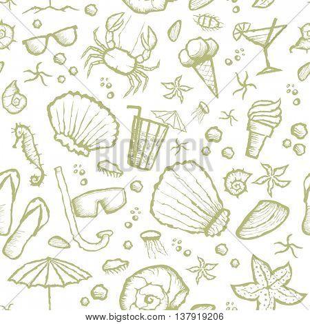 Vector with hand made seamless summer beach pattern