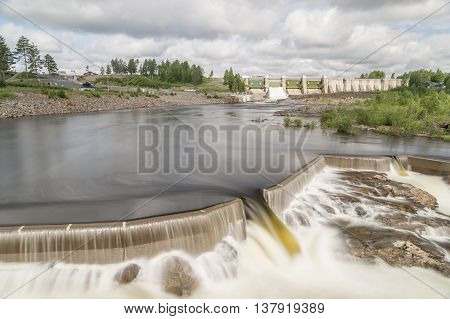Hydropower Plant in Stornorrfors Sweden with a cloudy sky.