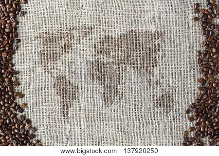 World map at burlap texture with coffee beans border. Sack cloth background. Brown natural sackcloth canvas. Seeds at hessian textile