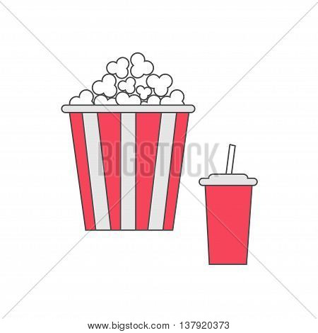 Popcorn and soda with straw. Cinema thin line icon in flat dsign style. White background. Isolated. Vector illustration