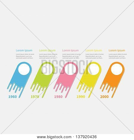 Infographic Five step Timeline. Colorful comet shape segment. Dash line circles. Template. Flat design. White background. Vector illustration