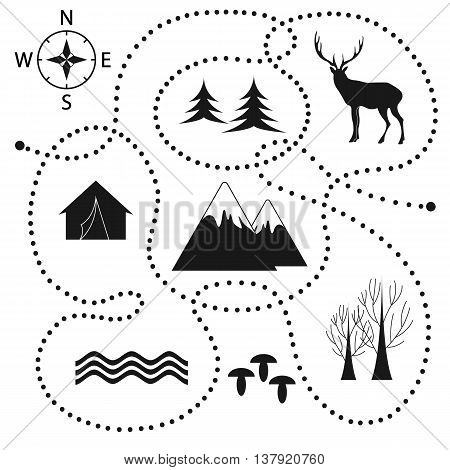 Vector illustration tourist route. Abstract background with tourist objects.