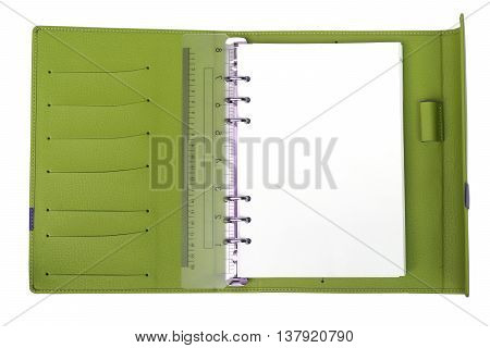 A Green notebook with white blank page