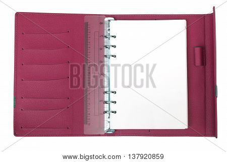 A Magenta notebook with white blank page
