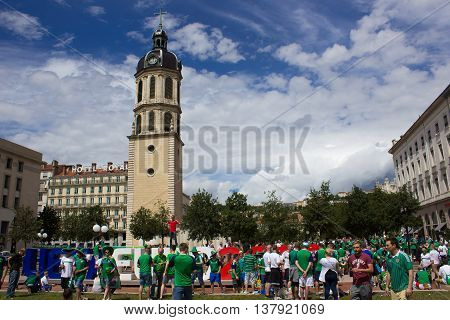 Lyon, France - June 16, 2016: Northern Ireland fans at the fan zone of the European Football Championship EURO 2016
