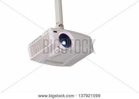 Projector hung from the ceiling isolated on white