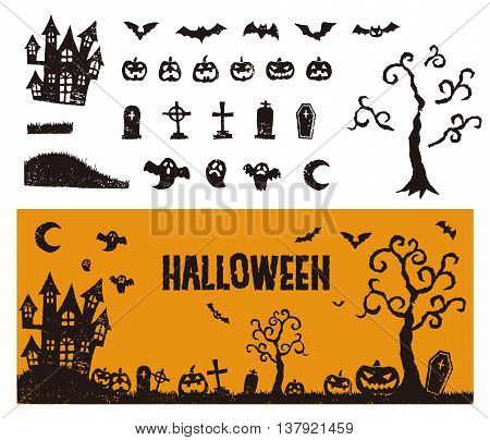 Halloween icon a haunted house pum pkins bats and ghosts with a banner