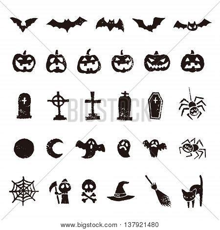 Halloween icon bat pumpkin ghost spider and moon etc.