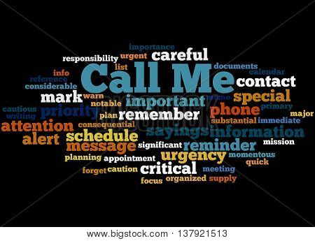 Call Me, Word Cloud Concept 3