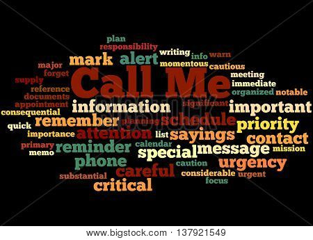 Call Me, Word Cloud Concept 4