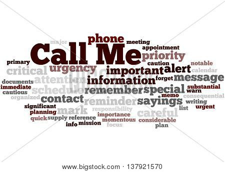 Call Me, Word Cloud Concept 5