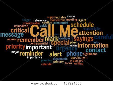Call Me, Word Cloud Concept 6