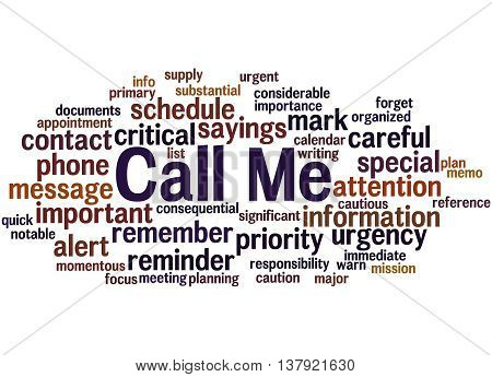 Call Me, Word Cloud Concept 7