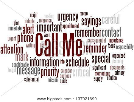 Call Me, Word Cloud Concept 9