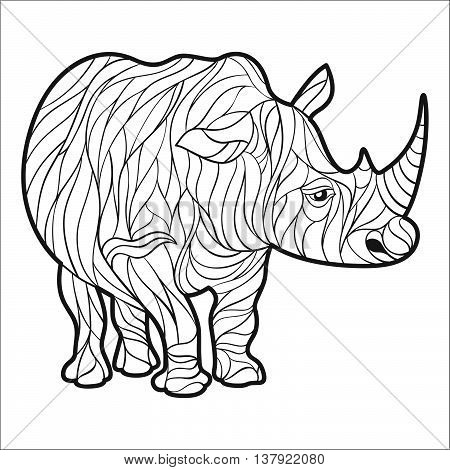 Vector monochrome hand drawn illustration of rhino. Coloring page with high details isolated on white background. Boho style. Design for T-shirt greeting card or poster.