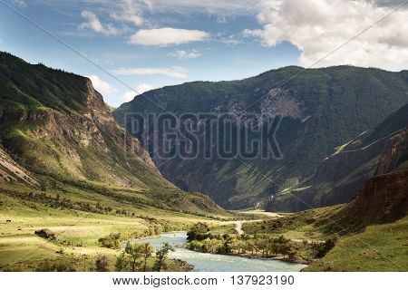 Beautiful Landscape. Mountains And Green Valley