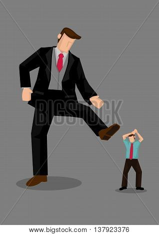 A giant rich man raising his foot to step on smaller man. Creative vector illustration on stepping on others metaphor isolated on grey background.