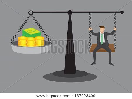 Cartoon man sitting on weighing scale with money. Vector cartoon illustration on balancing between work and life concept isolated on grey background.