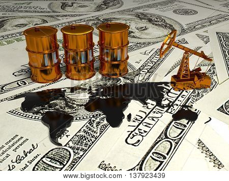 Golden Pumpjack And Spilled Oil On The Money. 3D Scene.