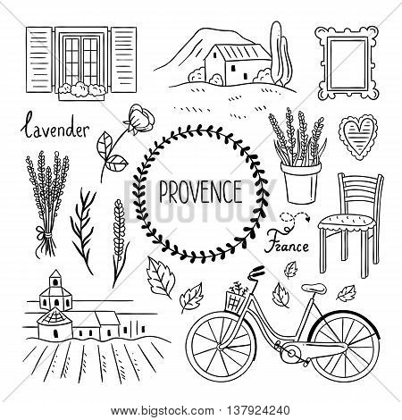 Provence France hand drawn icons and illustrations. Sketch doodles french Provence