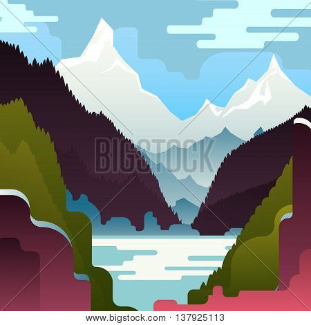 Vector mountain landscape with huge white mountains and lake. Lake and mountain landscape. Beautiful flat landscape.