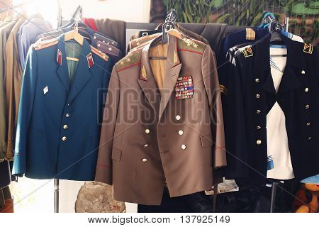 VINNITSA UKRAINE - MARCH 7 2016: Soviet military uniform of the general officers soldiers and sailors. Military museum.