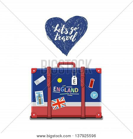 Concept of travel or studying English. English flag on suitcase. Flat design, vector illustration