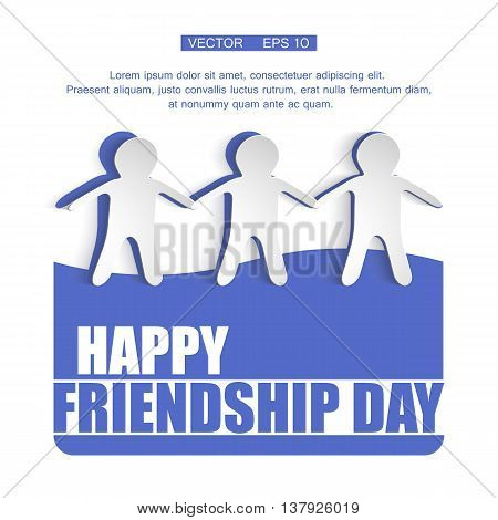 Vector illustration card with colourful text for friendship day. Eps 10