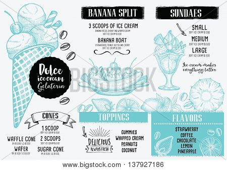 Ice cream menu placemat food restaurant brochure dessert template design. Vintage creative sweet template with hand-drawn graphic. Vector food menu flyer.