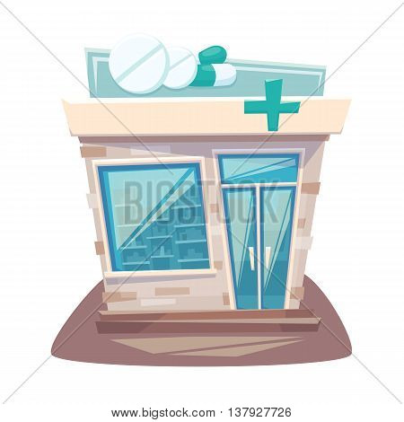 Pharmacy store front. Street local drugstore building. Medicine retail shop facade. Pharmacy front cartoon vector illustration.