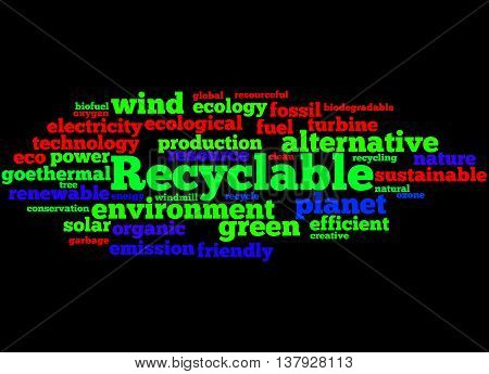 Recyclable, Word Cloud Concept