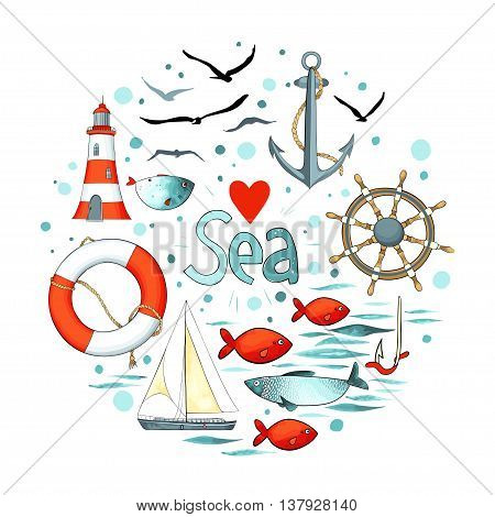 Collection of nautical elements in a circle shape. There are lighthouse, seagull, sailboat, life buoy, fish, anchor and wheel. Objects isolated on white background. Vector illustration.