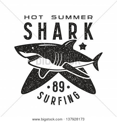 Graphic design for t-shirt with the image of shark. Black print on white background